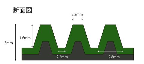 筋ゴムマットの断面図